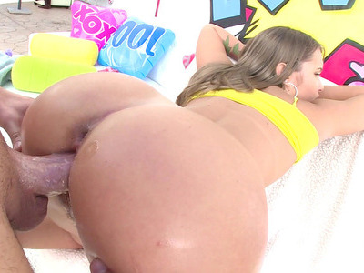 Liza Rowe gets her big butt slathered with lube and takes pussy pounding