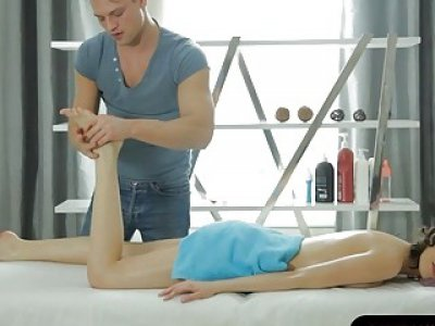 Nasty babe gets banged by perv masseur on massage table