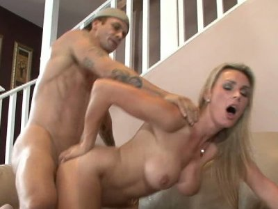 Fake boobie blonde Tanya Tate fucks young guy doggy style