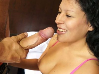 Frisky curly haired Raquel Love gives awesome blowjob