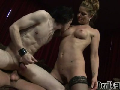 Bisexual Deviant Kade blows cock and gets his anus straponed
