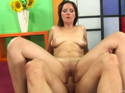 Zealous brunette mom Susanne sucks her stud's massive dick