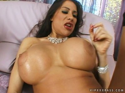 Busty slut Sheila Marie pokes her ass with a dildo and gives deepthroat blowjob