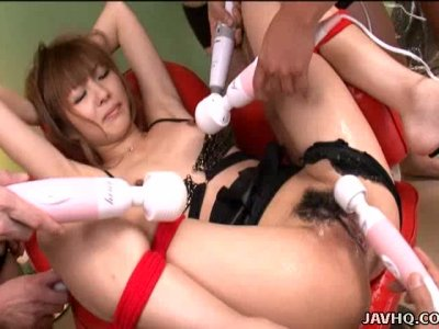 Countless vibrators please Kotone Aisaki's dripping wet cunt
