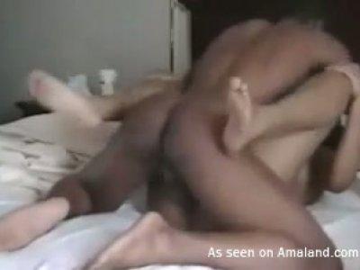 Curly ebony slut passionately fucks with her boyfriend