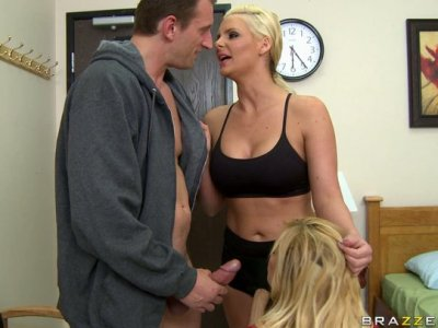 Shyla Stylez sucks Mark Ashley's dick and gets poked by Phoenix Marie wearing a strapon
