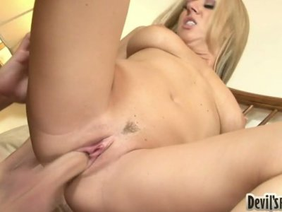 Zesty blonde MILF Carolyn Reese tops huge white dick