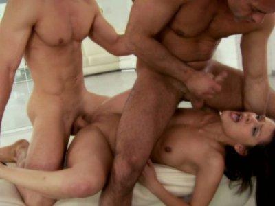 Zesty brunette bitch Samia Duarte does anal in threesome