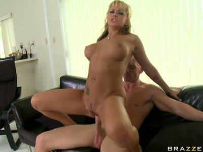 Horny blonde Briana Blair gets poked hard in a doggy position