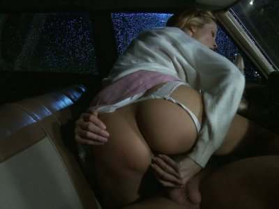 Sexy blonde cutie Jessica Drake fucks her nerdy boyfriend in his car