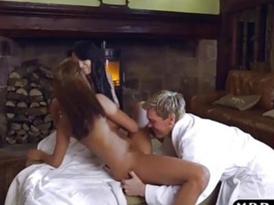 Big tits Peta Jensen and Anissa Kate hot threesome fuck
