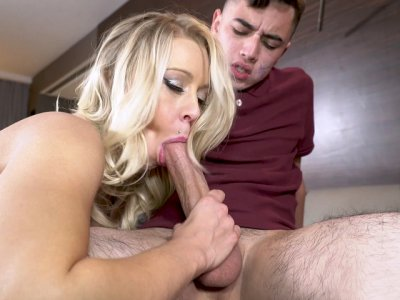 Blonde MILF Katie Morgan sucking the lucky dick