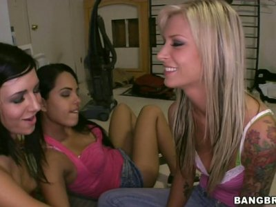 Orgy after X-Box duel with Angelina Stoli, Brooke Banner and Ashli Orion