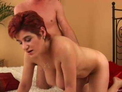 Ugly redhead mommy Mara gets drilled by horny stud Ryan