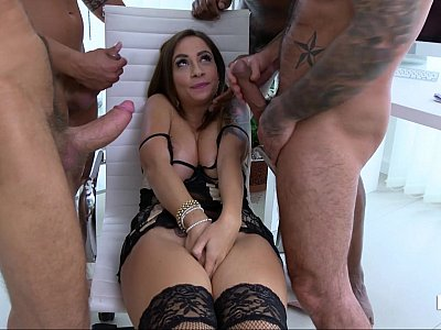 Thirsty and busty babe fucks four guys