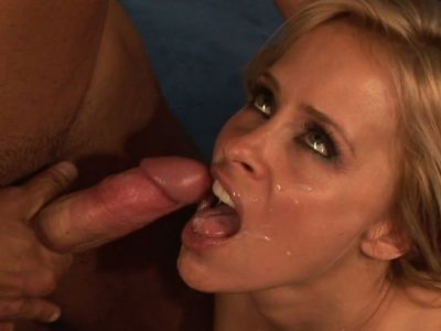 Trashy whore Payton Leigh gets rammed hard in a doggy position and later swallows jizz