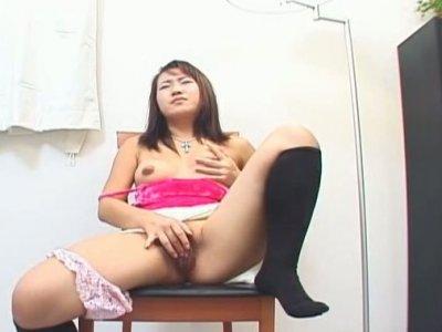 Amateur Japanese girl Yuko masturbating on the chair