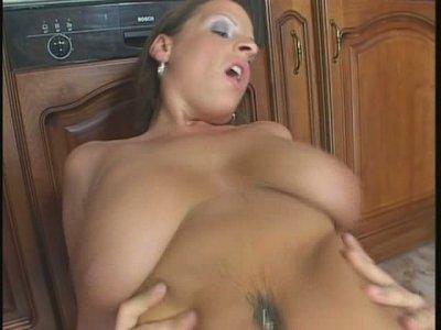 Fugly whore Ann Stefani hops on a hard cock like crazy