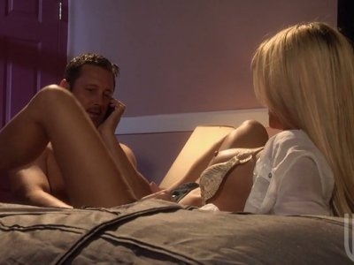 Stunning blonde beauty Jessica Drake gives fellatio and rides dick