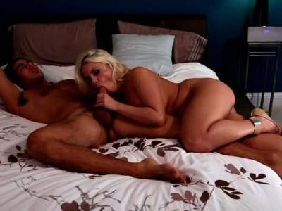 Brittany Amber fondles Damian B's cock with her tongue