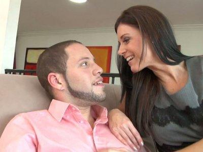 Kinky porn slut India Summer seduces Wolf Hudson and licks his asshole