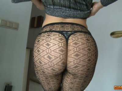 Big Bottomed girl in sexy pantyhose wagging her ass