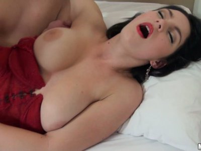 Seductive devil Nanny gets her wet pussy eaten and thrusted in a missionary position
