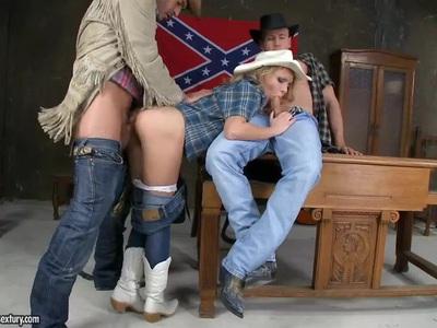 Pretty cowgirl Nataly Von has lusty threesome