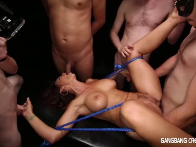 Syren De Mer gets used for a cum dump at a gangbang