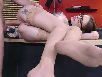 Anal lover Anna De Ville has her co-worker drill her ass hole
