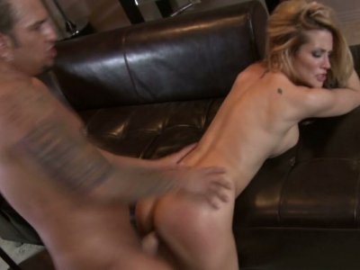 Hungry blonde hooker Jessica Drake sucking and riding huge dick