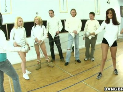 Sexciting swordplay with Jeanie Marie, Isis Taylor and Melanie Jayne