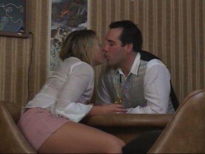 Slutty blonde girl Jules Van Saint gets her pinkish pussy eaten by a bartender