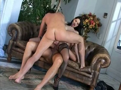 Voluptuous awesome brunette pleases two stiff shlongs at once