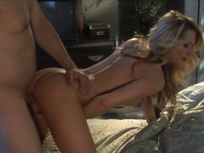 Horny blonde babe Jessica Drake rides rides dick and fingers her asshole