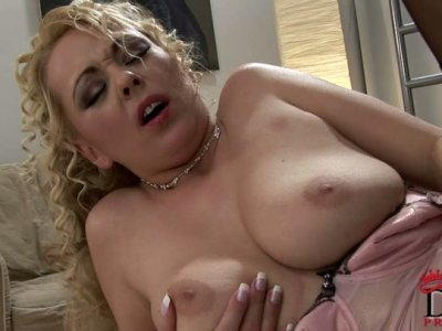 Frizzy attractive blondie provides a dick with a blowjob after being analfucked